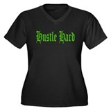 Hustle Hard (Green) Women's Plus Size V-Neck Dark