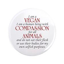 """I Am A Vegan 3.5"""" Button"""