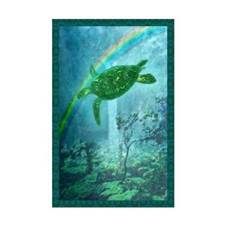 Rainforest Turtle Mini Poster Print