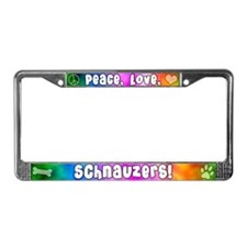Hippie Schnauzer License Plate Frame