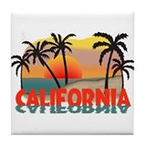 California Sunset Souvenir Tile Coaster
