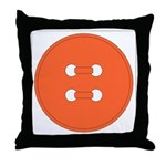 Orange Button Throw Pillow