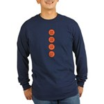 Orange Buttons Long Sleeve Dark T-Shirt