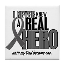 Never Knew A Hero 2 Grey (Dad) Tile Coaster