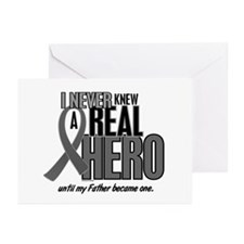 Never Knew A Hero 2 Grey (Father) Greeting Cards (