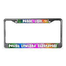 Hippie Polish Lowland Sheepdog License Plate Frame