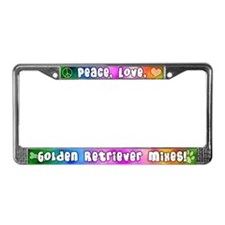 Hippie Golden Retriever Mix License Plate Frame