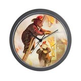 ROOSEVELT BEARS - FIREFIGHTER HEROS Wall Clock