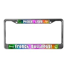 Hippie French Bulldog License Plate Frame