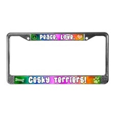 Hippie Cesky Terrier License Plate Frame