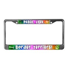 Hippie Border Terrier License Plate Frame
