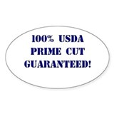 100% USDA Primr Cut Oval Decal
