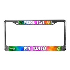 Hippie Pit Bull License Plate Frame