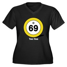 Oh Sixty Nine Women's Plus Size V-Neck Dark T-Shir