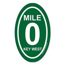 Key West Mile Marker Zero Green Euro Oval Decal