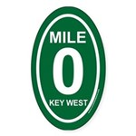 Key West Mile Marker Zero Green Euro Oval Sticker