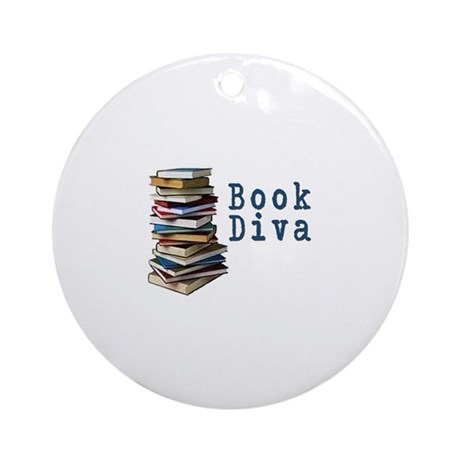 Book Diva (w/books) Ornament (Round)