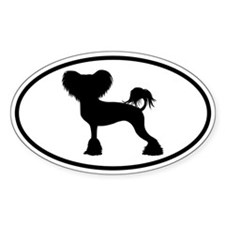Chinese Crested Oval Sticker (50 pk)