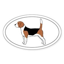 Beagle Dog Oval Sticker (10 pk)