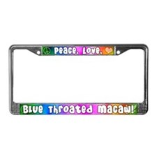 Hippie Blue Throated Macaw License Plate Frame