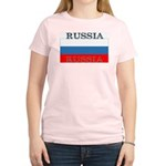 Russia Russian Flag Women's Pink T-Shirt