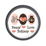 Peace Love Pottery Wall Clock