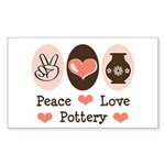 Peace Love Pottery Rectangle Sticker 50 pk)