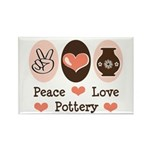 Peace Love Pottery Rectangle Magnet (100 pack)