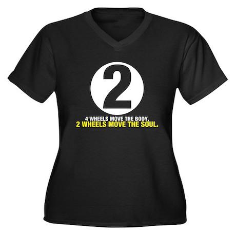 2 Wheels Move the Soul Women's Plus Size V-Neck Da