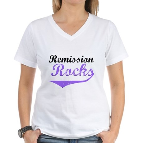 Remission Rocks Hodgkins Women's V-Neck T-Shirt