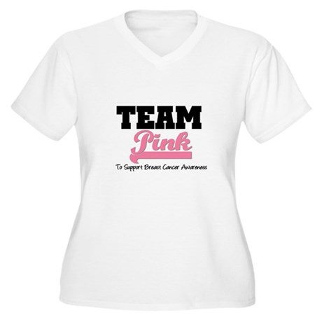 Team Pink v2 Women's Plus Size V-Neck T-Shirt