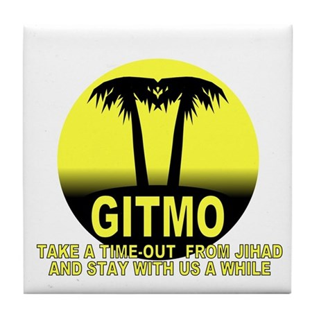 Gitmo Palms Tile Coaster
