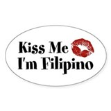 Kiss Me I'm Filipino Oval  Aufkleber