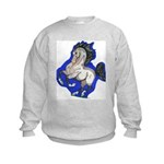 Noble Fantasy Grey horse Kids Sweatshirt