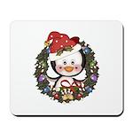 Christmas Penguin Holiday Wreath Mousepad