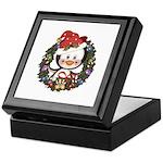 Christmas Penguin Holiday Wreath Keepsake Box