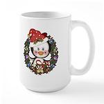 Christmas Penguin Holiday Wreath Large Mug