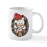 Christmas Penguin Holiday Wreath Mug