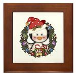 Christmas Penguin Holiday Wreath Framed Tile