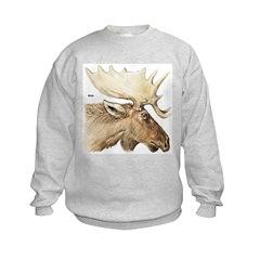 Moose Antler Head Kids Sweatshirt