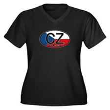 Czech Republic Euro Oval Women's Plus Size V-Neck