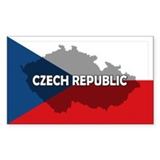 Czech Republic Flag Extra Rectangle Sticker 10 pk