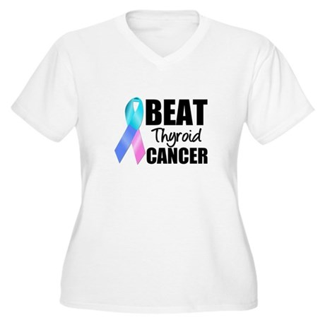 Beat Thyroid Cancer Women's Plus Size V-Neck T-Shi