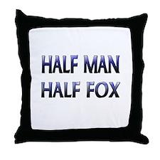 Half Man Half Fox Throw Pillow