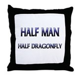 Half Man Half Dragonfly Throw Pillow