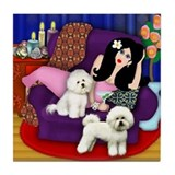 BICHON FRISE DOGS MARTINI Tile Coaster