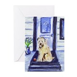 Wheaten waits at door Greeting Cards (Pk of 10