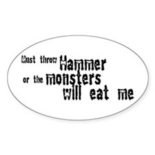 Must Throw Hammer Oval Sticker (10 pk)