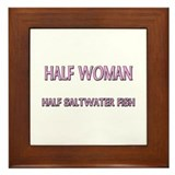 Half Woman Half Saltwater Fish Framed Tile