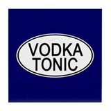 Vodka Tonic Euro Oval blue Tile Coaster